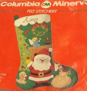 Columbia Minerva Felt Christmas Stocking Kit JOLLY SANTA Vtg Morehead Sealed CM