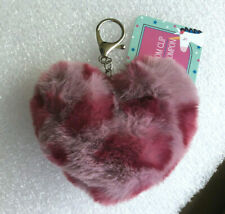 Rainbow Pom Pom Fluff Ball Cat w// Peace sign glasses  Keychain From Justice NEW