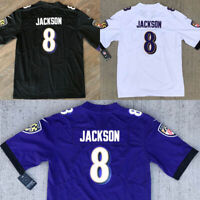 Lamar Jackson #8 Baltimore Ravens Men's Purple/White/Black Stitched Jersey