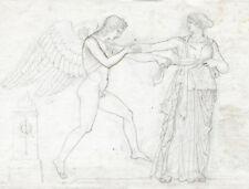 Cercle de John Flaxman fin du 18e Néoclassique old drawing superbe qualité 25x33