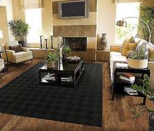 Solid Black Area Rug Carpet 8 x 10 sz  Rugs Floor Decor Modern Large Living Room