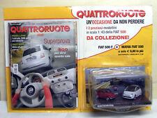 2 MODELLI:  FIAT 500 F  + FIAT 500 Nuova del 2007 - 1:43 - QUATTRORUOTE