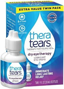 TheraTears Eye Drops for Dry Eyes, Lubricant Eyedrops, Twin Pack, 30mL 1 Fl oz