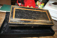 Japaned Tin Lock Cash Box Gold Red Trim for Document,  Safe,  and or  Bank