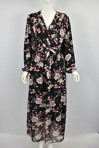 Women's Floral Print Wrap Front Neck Long Sleeve Day Evening Party Maxi Dress