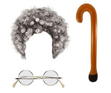 (Grey Afro Walking Stick & Clear Glasses) Granny Set Fancy Dress Costume