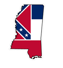 Mississippi State (Q25) Shape Flag Vinyl Decal Sticker Car/Truck Laptop/Netbook
