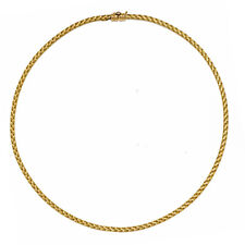 "18KT Yellow Gold Basketweave Weave Neckwire Chain Necklace 18"" Mesh Collar 3 mm"