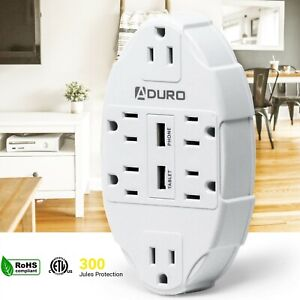 Aduro Surge Protector 6 Outlets Power Strip Station with 2 USB Ports Charger