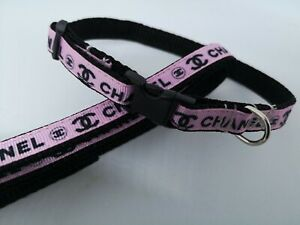 """X SMALL DOG COLLAR + LEAD 6""""-8"""" NECK. T CUP CHIHUAHUA FREE FABRIC DESIGN."""