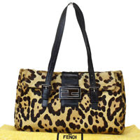 Authentic FENDI FF Logo Tote Hand Bag Calf Fur Leather Leopard Italy 62BS061