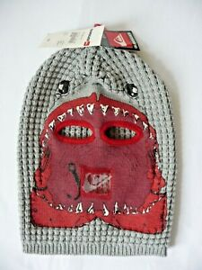 QuickSilver Hat Mask NWT Young Adults Boys Graphic Cool Grey Knitted Fish Hook