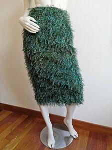 RRP €662🌟 MAX MARA Fil Coupe' Fur Effect RUNWAY Skirt USA4_ IT38_D34_GB6_FR36