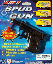 Toy Spud Gun 3 in 1 Shoots Potato Bits Water Plastic Caps Die-cast Metal