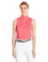 PGA TOUR Women's Sleeveless Motionflux Tonal Stripe 1/4 Zip Mock Top in 3 Colors