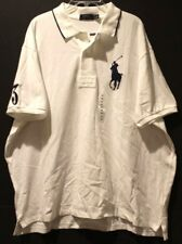 Polo Ralph Lauren Big and Tall Mens White Big Pony Rugby Shirt NWT $125 Size 2XB
