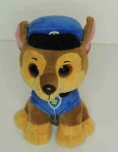"""TY BEANIE BOOS PAW PATROL PLUSH SOFT TOY Chase  6"""" NEW no tags"""