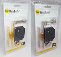 YALE 3 LEVER 2.5 inch (64mm) MORTICE Deadlock with 2 Keys CHROME/ POLISHED BRASS