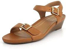 Vionic Port Frances Women's Tan Leather Backstrap Wedge Casual Sandals US 7.5 M