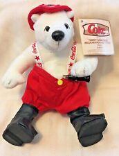 Coca-Cola Coke Fireman Bean Bag  Plush Polar Bear Excellent
