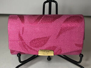 """NEW Mary Kay DOUBLE LIPSTICK CASE W MIRROR Pink Fabric Hard Shell 3 1/2"""" L"""