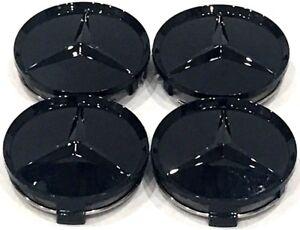 4 pcs, Wheel Center, Hub Caps, Paint Gloss Black, 75 mm / 3 in, Mercedes Benz