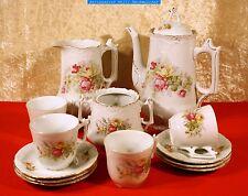 Historismus Teil Kaffeeservice um 1880-weißer Scherben mit Blumendekor ungemarkt