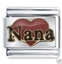 RED NANA HEART - Daisy Charm by JSC Fits Classic Size Italian Charms Bracelet
