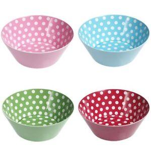 Childrens Bowl Melamine Plastic Spotty Polka Dot Kids Party Snack