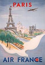 PARIS TRAVEL POSTER * Classic Retro LARGE A3 SiZE QUALITY CANVAS  PRINT