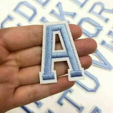 ALPHABET LETTERS EMBROIDERED IRON ON BADGE SEW ON PATCH BABY BLUE  APPLIQUE