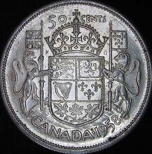 1958 XF+ (AU-) Canada Silver 50 Cents (Fifty, Half) - KM# 53 - Free Ship - JG