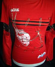 Goth : TOP ML ROUGE 'Destroy' Chaines & Epingles Japan Gothique
