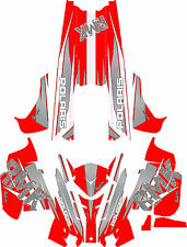 RACING POLARIS RUSH PRO-RMK 600/800 SNOWMOBILE SLED WRAP CARBEN & RED 2011-2015