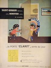 PUBLICITÉ PORTE CLARIT EN VERRE SAINT-GOBAIN FABRIQUE VOTRE MIROITIER VEND