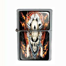 Wind Proof Dual Torch Refillable Butane Lighter Skull Design-011