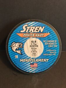 STREN Power Knot Monofilament Fishing Line 6 lb (220 yd) Clear New