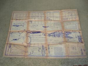"HUGE Vtg CLEVELAND MODEL & SUPPLY Airplane Blueprint P-51 MUSTANG WW2 34"" x 88"""