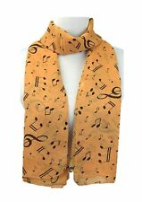 Brown musical symbols chiffon neck scarf shawl long rectangle size 47cm X 156cm