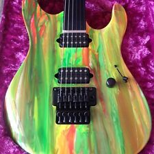 Suhr 80's Shred Neon Drip Electric Guitar 2012 MINT w/ case and matching pedal