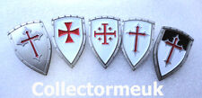 5 x Knights Templar Shield Crusader St George Crusade Cross Pin Badge Medieval