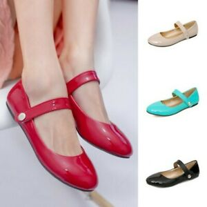 Ladies Strappy Round Toe Ballet Flats Lolita Mary Janes Ankle Strap Flats Shoes