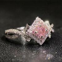 Elegant 925 Silver Jewelry Pink Sapphire Women Wedding Jewelry Gift Size 6-10