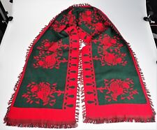 New listing Red Green Woven Holiday Birds Table Runner Cotton