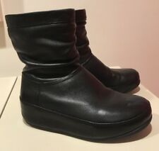 "FITFLOP BLACK LEATHER ""CRUSH"" BOOTS, Size 8M"