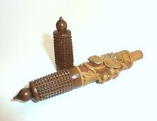 Ausgefallener Nadelbehälter Nadeletui Holz Etui um 1860 Weinlaub B-2001