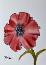 Original Miniature Painting by Bill Lupton ACEO - Poppy in Red