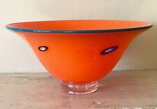 KEN & INGRID HANSON translucent orange art glass w/teal rim BLOSSOM BOWL Signed!