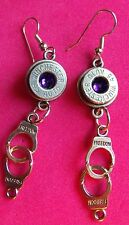 BULLET EARRINGS  45 CAL  WINCHESTER WITH HANDCUFFS CHOICE OF STONE NEW UNUSED