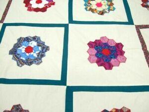 Handmade Modern Grandmother's Flower Garden Appliqued Quilt Top